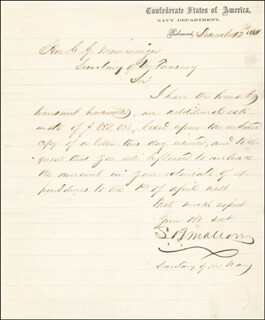 STEPHEN R. MALLORY - AUTOGRAPH LETTER SIGNED 12/17/1861