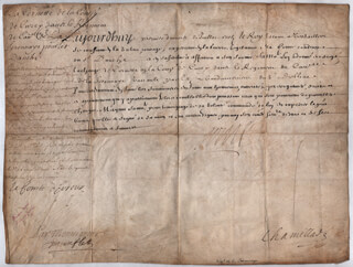 Autographs: KING SUN KING LOUIS XIV (FRANCE) - MILITARY APPOINTMENT SIGNED 07/01/1703