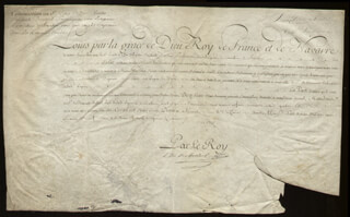 Autographs: KING LOUIS XV (FRANCE) - DOCUMENT UNSIGNED 05/11/1769
