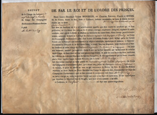 Autographs: KING CHARLES X (FRANCE) - MILITARY APPOINTMENT SIGNED 02/10/1792