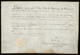 Autographs: KING LOUIS XVIII (FRANCE) - MILITARY APPOINTMENT SIGNED 10/08/1814 CO-SIGNED BY: PIERRE DUPONT DE L'ESTANG