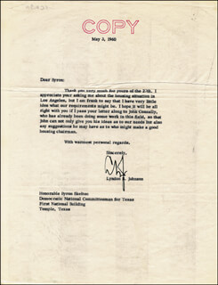 PRESIDENT LYNDON B. JOHNSON - TYPED LETTER SIGNED 05/03/1960