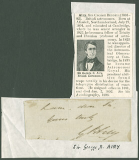 Autographs: SIR GEORGE BIDDELL AIRY - AUTOGRAPH FRAGMENT SIGNED