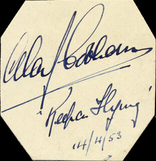 Autographs: SIR ALAN J. COBHAM - AUTOGRAPH QUOTATION SIGNED 04/14/1953