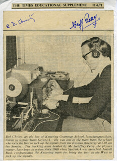 GEOFFREY E. PERRY - NEWSPAPER PHOTOGRAPH SIGNED CIRCA 1971 CO-SIGNED BY: ROBERT CHRISTY
