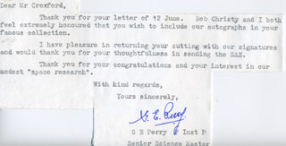 Autographs: GEOFFREY E. PERRY - TYPED NOTE SIGNED 06/14/1971