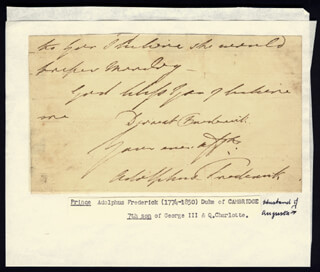 PRINCE ADOLPHUS FREDERICK (DUKE OF CAMBRIDGE I) - AUTOGRAPH FRAGMENT SIGNED