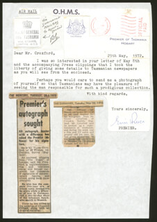 PREMIER ERIC REECE - TYPED LETTER SIGNED 05/29/1972