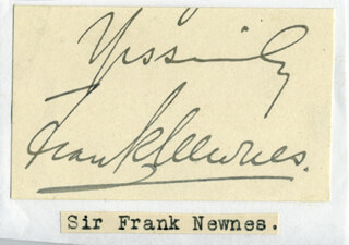 FRANK (2ND BARONET) NEWNES - AUTOGRAPH FRAGMENT SIGNED