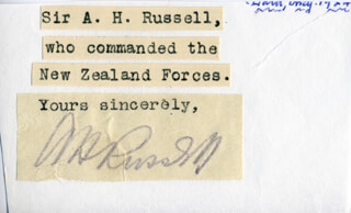 Autographs: MAJOR GENERAL ANDREW HAMILTON RUSSELL - TYPED SENTIMENT SIGNED