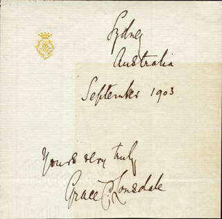 Autographs: COUNTESS GRACE C. LONSDALE - AUTOGRAPH SENTIMENT SIGNED 9/1903