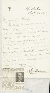 Autographs: EARL OF LONSDALE V (HUGH LOWTHER) - AUTOGRAPH LETTER SIGNED 09/03/1903