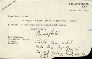 Autographs: LADY NANCY ASTOR - TYPED LETTER SIGNED 08/18/1920