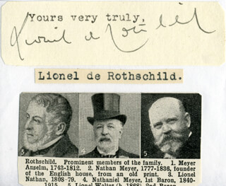 Autographs: LIONEL DE ROTHSCHILD - TYPED SENTIMENT SIGNED
