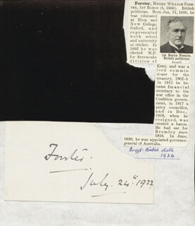 GOVERNOR HENRY WILLIAM FORSTER - AUTOGRAPH 07/24/1922