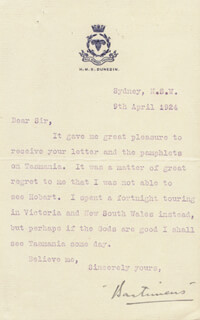 Autographs: BARTIMEUS (LEWIS ANSELM DA COSTA RICCI) - TYPED LETTER SIGNED 04/09/1924