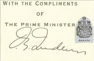 Autographs: PRIME MINISTER PIERRE E. TRUDEAU (CANADA) - PRINTED CARD SIGNED IN INK