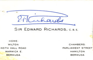 Autographs: EDWARD T. RICHARDS - BUSINESS CARD SIGNED