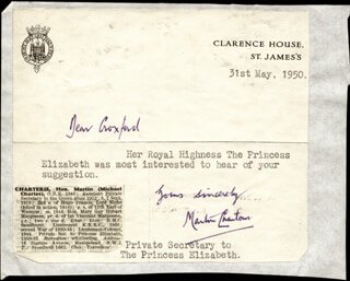 Autographs: MARTIN (BARON CHARTERIS OF AMISFIELD) CHARTERIS - TYPED NOTE SIGNED 05/31/1950