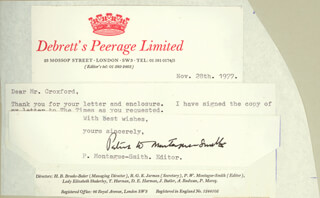 PATRICK W. MONTAGUE-SMITH - TYPED LETTER SIGNED 11/28/1977