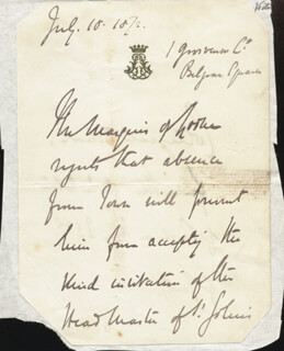 JOHN (9TH DUKE OF ARGYLL) CAMPBELL - THIRD PERSON AUTOGRAPH LETTER 07/10/1872