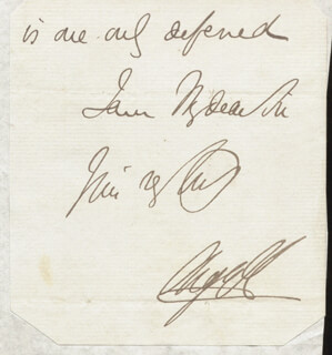 Autographs: GEORGE DOUGLAS (8TH DUKE OF ARGYLL) CAMPBELL - AUTOGRAPH SENTIMENT SIGNED