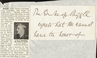 Autographs: JOHN (9TH DUKE OF ARGYLL) CAMPBELL - THIRD PERSON AUTOGRAPH NOTE
