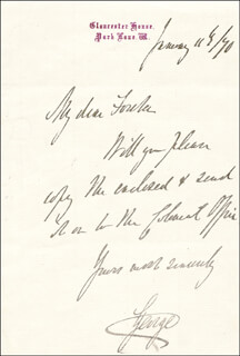 Autographs: DUKE OF CAMBRIDGE - AUTOGRAPH LETTER SIGNED 01/11/1890