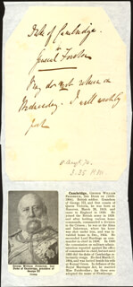 Autographs: DUKE OF CAMBRIDGE - THIRD PERSON AUTOGRAPH NOTE 08/08/1870