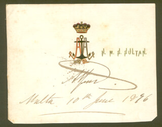 PRINCE (DUKE OF SAXE-COBURG AND GOTHA) ALFRED (GREAT BRITAIN) - PRINTED CARD SIGNED IN INK 06/10/1896