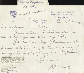 Autographs: HERBERT JOSEPH BUCKWORTH - AUTOGRAPH LETTER DOUBLE SIGNED 10/09/1969