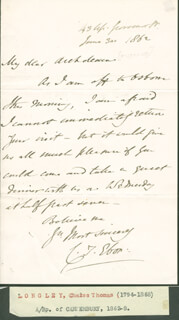 BISHOP CHARLES ARCHBISHOP OF CANTERBURY LONGLEY - AUTOGRAPH LETTER SIGNED 06/30/1862