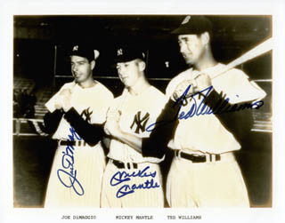 MICKEY MANTLE - EMUSLSIFIED PHOTO IMAGE SIGNED CO-SIGNED BY: TED WILLIAMS, JOE DIMAGGIO