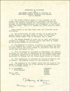 FIELD MARSHAL MONTGOMERY OF ALAMEIN (BERNARD MONTGOMERY) - TYPESCRIPT SIGNED 01/01/1968