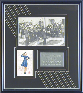 GLENN MILLER BAND - POST CARD SIGNED CO-SIGNED BY: GLENN MILLER BAND (ERNIE CACERES), DOC GOLDBERG, GLENN MILLER BAND (PAUL LIGHTIN' TANNER), RALPH BREWSTER, GLENN MILLER BAND (RAY EBERLE), GLENN MILLER BAND (JOHNNY BEST), GLENN MILLER BAND (GLENN MILLER)