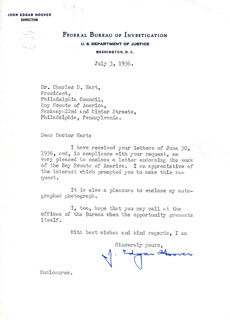 J. EDGAR HOOVER - TYPED LETTER SIGNED 07/03/1936  - HFSID 82017