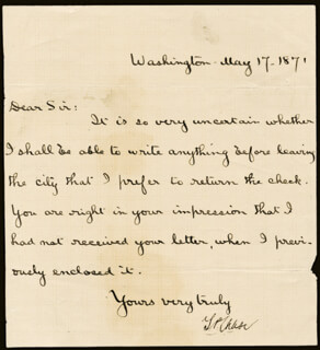 CHIEF JUSTICE SALMON P. CHASE - MANUSCRIPT LETTER SIGNED 05/17/1871