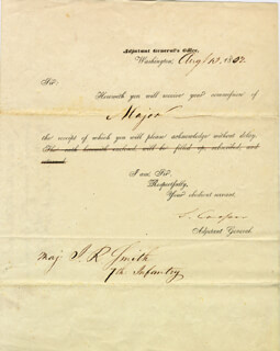 Autographs: GENERAL SAMUEL COOPER - LETTER SIGNED 08/13/1852