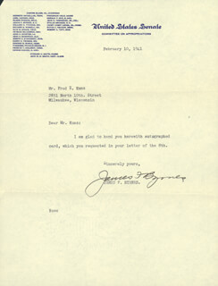 Autographs: ASSOCIATE JUSTICE JAMES F. BYRNES - TYPED LETTER SIGNED 02/10/1941