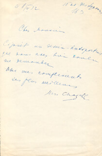 MARC CHAGALL - AUTOGRAPH LETTER SIGNED 04/08/1932