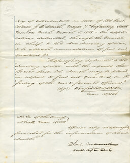 MAJOR GENERAL IRVIN McDOWELL - MANUSCRIPT ENDORSMENT SIGNED 03/10/1858