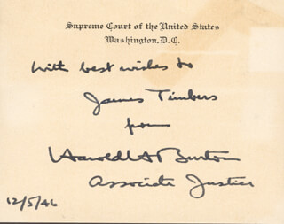 ASSOCIATE JUSTICE HAROLD H. BURTON - AUTOGRAPH NOTE ON SUPREME COURT CARD SIGNED 12/05/1946
