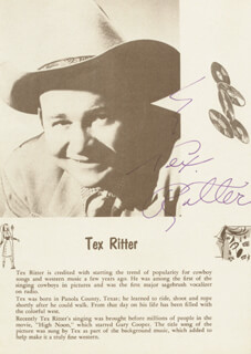 TEX RITTER - MAGAZINE PAGE SIGNED
