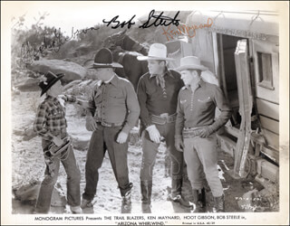 ARIZONA WHIRLWIND MOVIE CAST - PRINTED PHOTOGRAPH SIGNED IN INK CO-SIGNED BY: BOB STEELE, KEN MAYNARD, HOOT (EDMUND) GIBSON