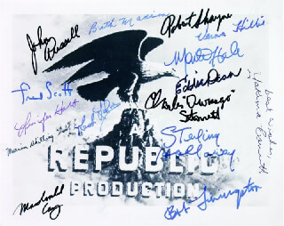 REPUBLIC PICTURES - AUTOGRAPHED SIGNED PHOTOGRAPH CO-SIGNED BY: BETH MARION, EDDIE DEAN, MONTE HALE, YAKIMA CANUTT, JENNIFER HOLT, LASH LA RUE, ROBERT LIVINGSTON, JOHN RUSSELL, CHARLES DURANGO STARRETT, VERNA HILLIE, MARION SHILLING, ROBERT SHAYNE, STERLING HOLLOWAY, FRED L. THE SINGING BUCKAROO SCOTT, MACDONALD CAREY