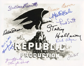 REPUBLIC PICTURES - AUTOGRAPHED SIGNED PHOTOGRAPH CO-SIGNED BY: EDDIE DEAN, MONTE HALE, YAKIMA CANUTT, JENNIFER HOLT, JAMES L. RIP BROWN, STERLING HOLLOWAY, FRED L. THE SINGING BUCKAROO SCOTT, JOHN HART, MACDONALD CAREY, KIRK ALYN