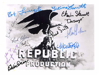 REPUBLIC PICTURES - AUTOGRAPHED SIGNED PHOTOGRAPH CO-SIGNED BY: EDDIE DEAN, MONTE HALE, YAKIMA CANUTT, JENNIFER HOLT, LASH LA RUE, ROBERT LIVINGSTON, CHARLES DURANGO STARRETT, SLIM PICKENS, FRED L. THE SINGING BUCKAROO SCOTT, KIRK ALYN