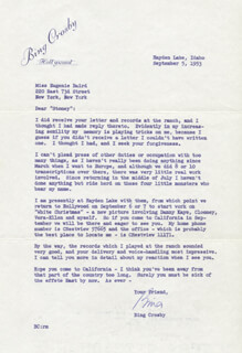 BING CROSBY - TYPED LETTER SIGNED 09/05/1953