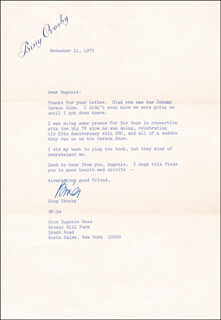 BING CROSBY - TYPED LETTER SIGNED 11/11/1975