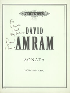 Autographs: DAVID AMRAM - INSCRIBED SHEET MUSIC SIGNED